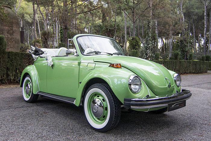volkswagen vw beetle escarabajo cabrio descapotable 1979 verde lima alquiler de coches para bodas eventos y rodajes en valencia jjdluxe cars