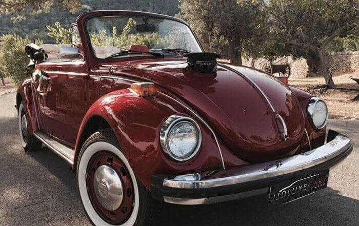 volkswagen vw beetle escarabajo cabrio descapotable 1976 rojo cereza alquiler de coches para bodas eventos y rodajes en valencia jjdluxe cars