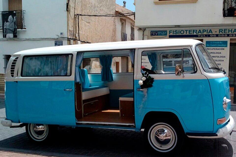 furgonetas para bodas alquiler volkswagen hippie kombi t2 blanca azul en valencia bodas eventos rodajes jj dluxe cars exterior